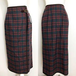 VTG USA Wool Tartan Plaid Suede Wrap Midi Skirt 8